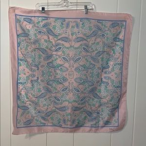 Vtg Sarah Coventry pink paisley polyester scarf